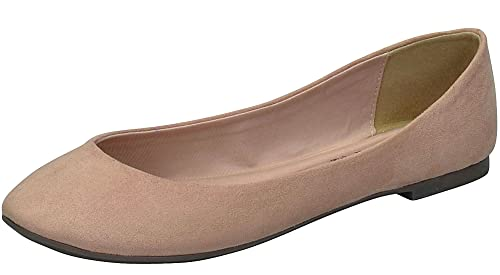 Breckelle's Women's Pointed Toe Slip On Ballet Flats (8 B(M) US, Natural)