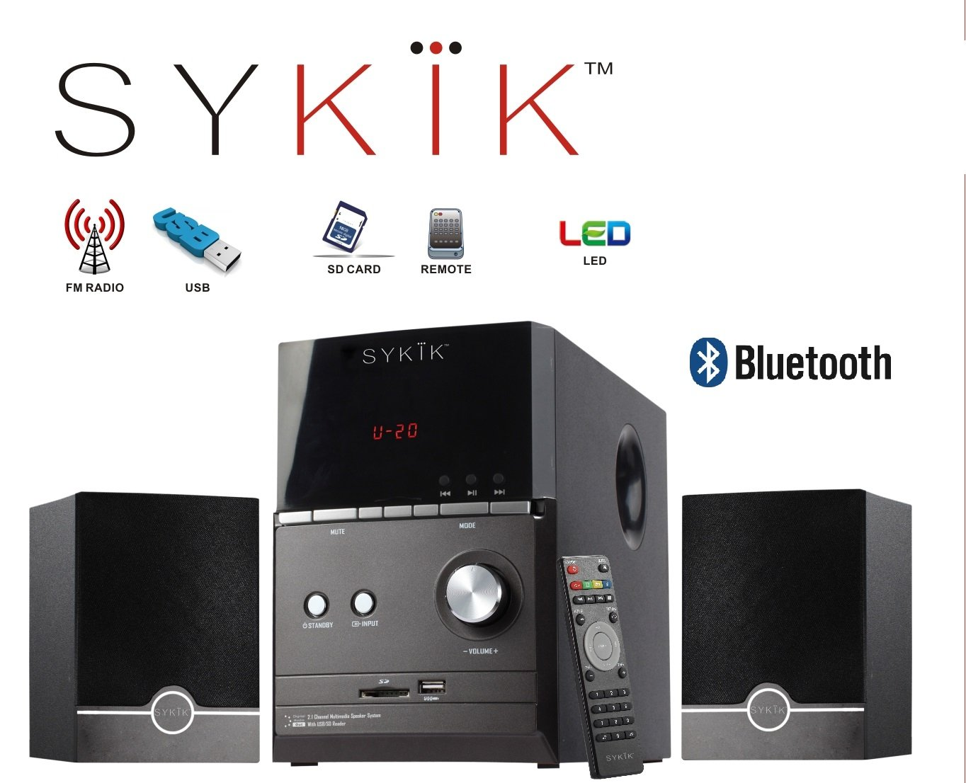 Sykik Sound SPME51 , powerful Bluetooth sound system, with 5'' Sub-woofer, SD, USB, Remote and FM Radio