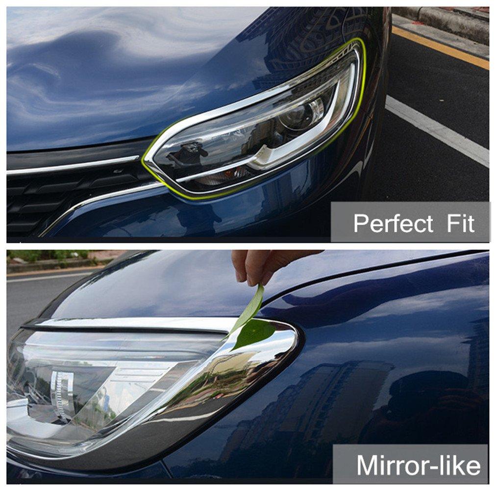 baodiparts ABS Chrome Faro delantero Marco de la luz Cubierta Trim Decorativo Moldura Trim 2-pack