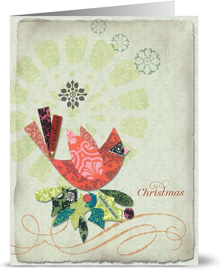 Amazon Com Christmas Greeting Cards 24 Pack Fancy Christmas Cardinal Unique Holiday Design Green Envelopes Included Blank Greeting Card Glossy Cover Blank Inside By Note Card Cafe Greeting Cards Office Products