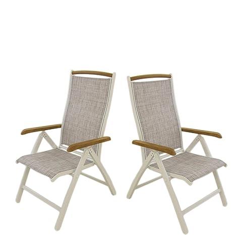 Pack 2 sillones para jardín de Aluminio Blanco y textilene ...