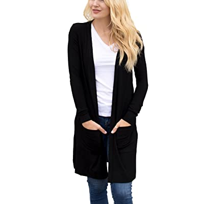 Tickled Teal Women's Soft Long Sleeve Pocket Cardigan at Women's Clothing store