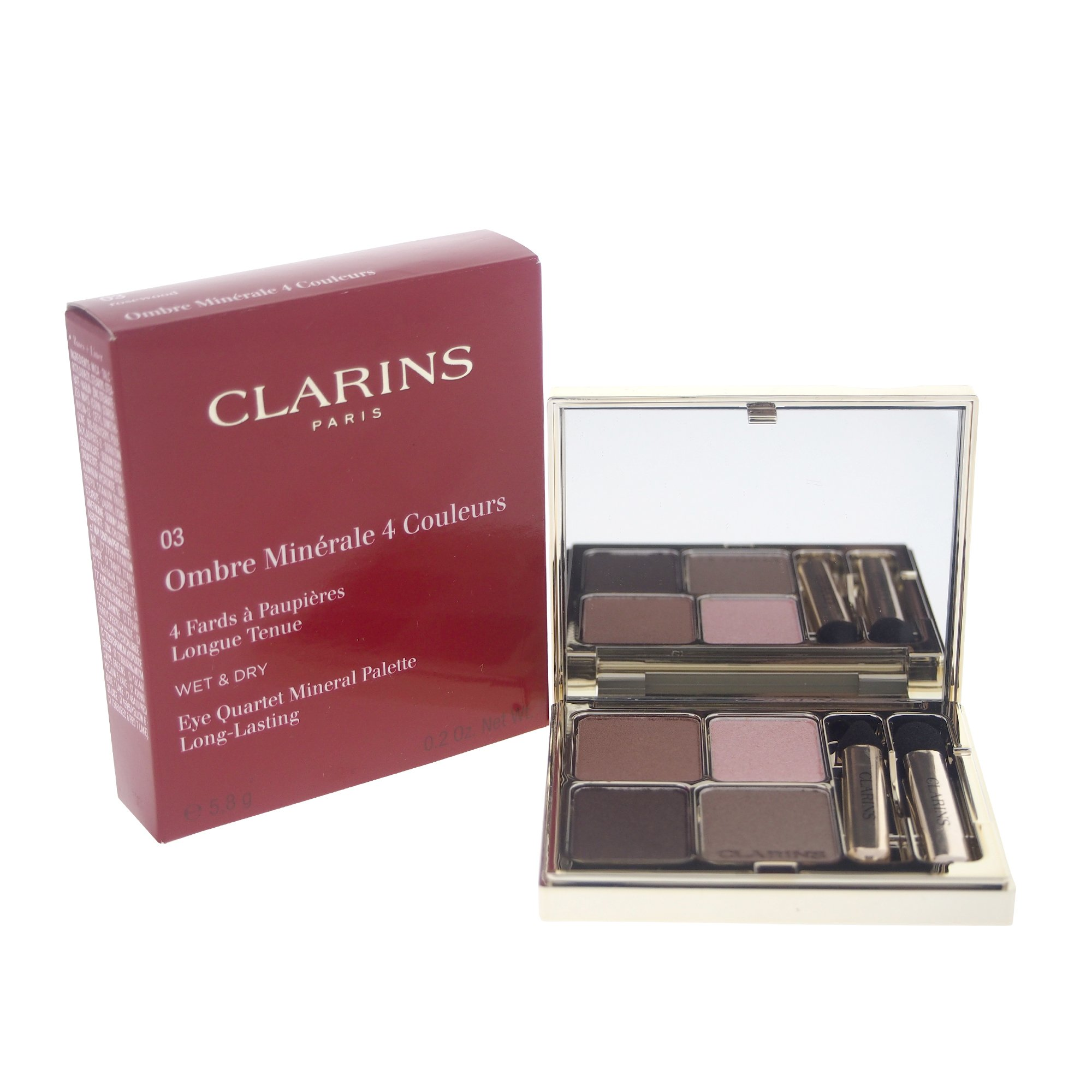 Clarins Eye Quartet Eyeshadow Mineral Palette for Women, Rosewood, 0.2 Ounce