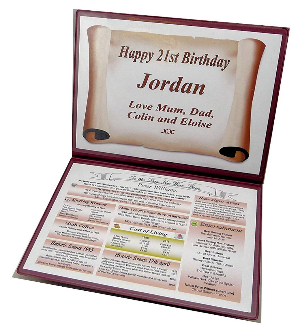 NWM Gifts PERSONAL 21st BIRTHDAY GIFT THE DAY YOU WERE BORN KEEPSAKE