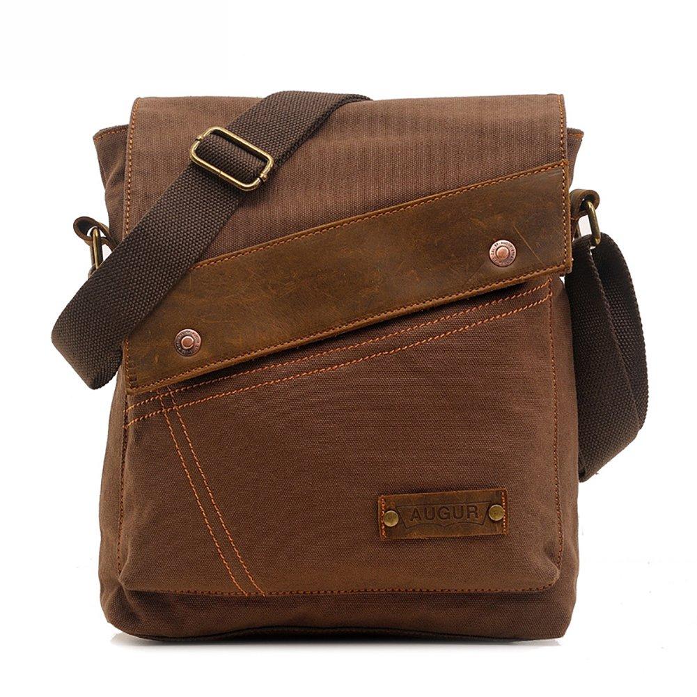 AUGUR Vintage Messenger Bag Ipad Bag Canvas Leather Messenger Bags Shoulder Bag
