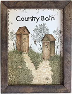 product image for Furniture Barn USA His & Hers Outhouse Country Bath Print with Rustic Tobacco Lath Board Frame