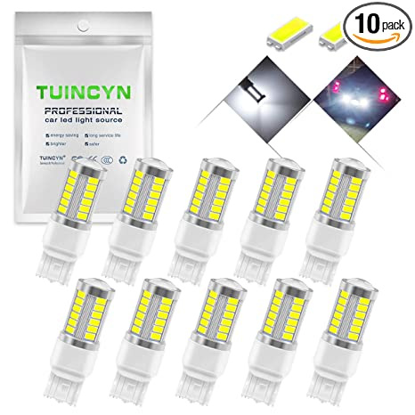 Pack of 4 TUINCYN 3157 3155 3156 3157A 3457A LED Brake Light Bulb White 5630 33SMD 8000K 900 Lumens Super Bright Turn Signal Light Tail Back Up Reverse Light Parking Light DC 12V