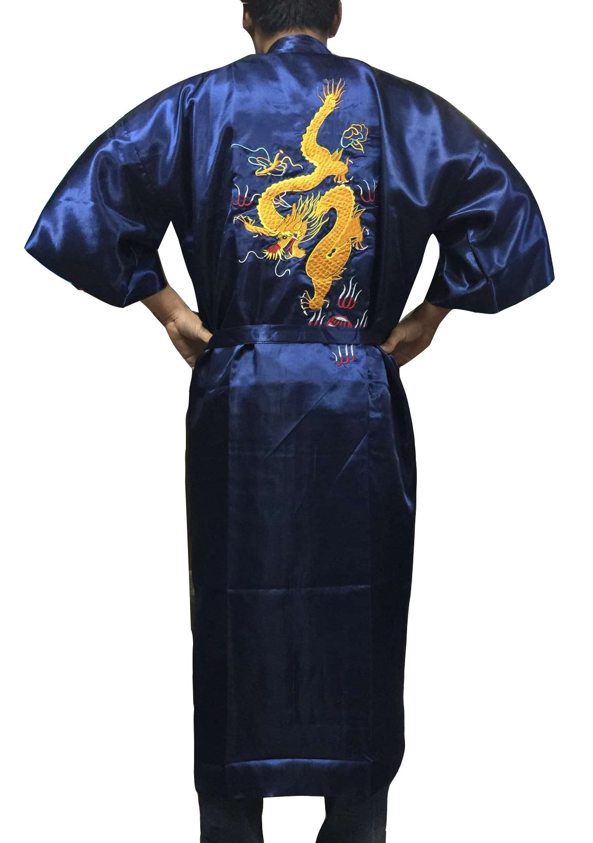 YueLian Men's Satin Robe Sleepwear Nightgown Bath Robe Dark Blue