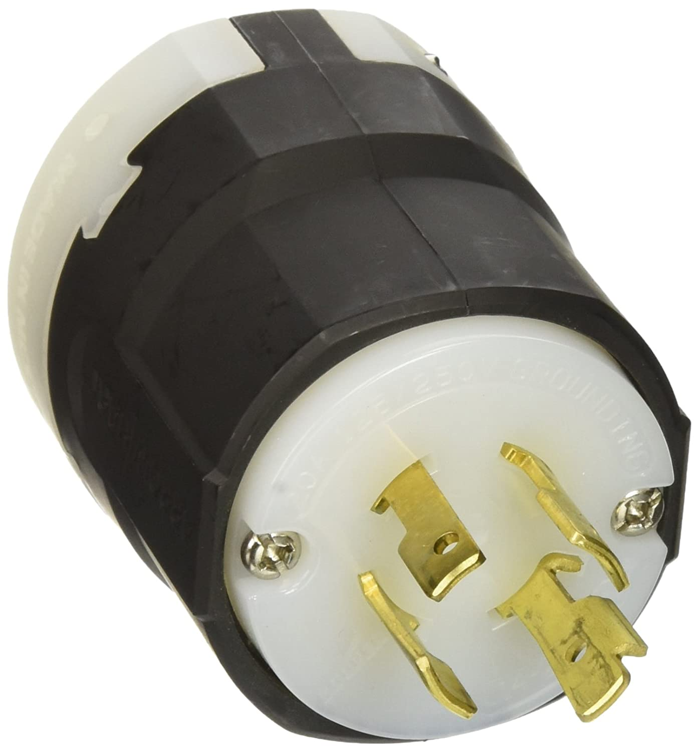 EATON L1420P 20-Amp 125/250-Volt Hart-Lock Industrial Grade Plug with Safety Grip, Black and White