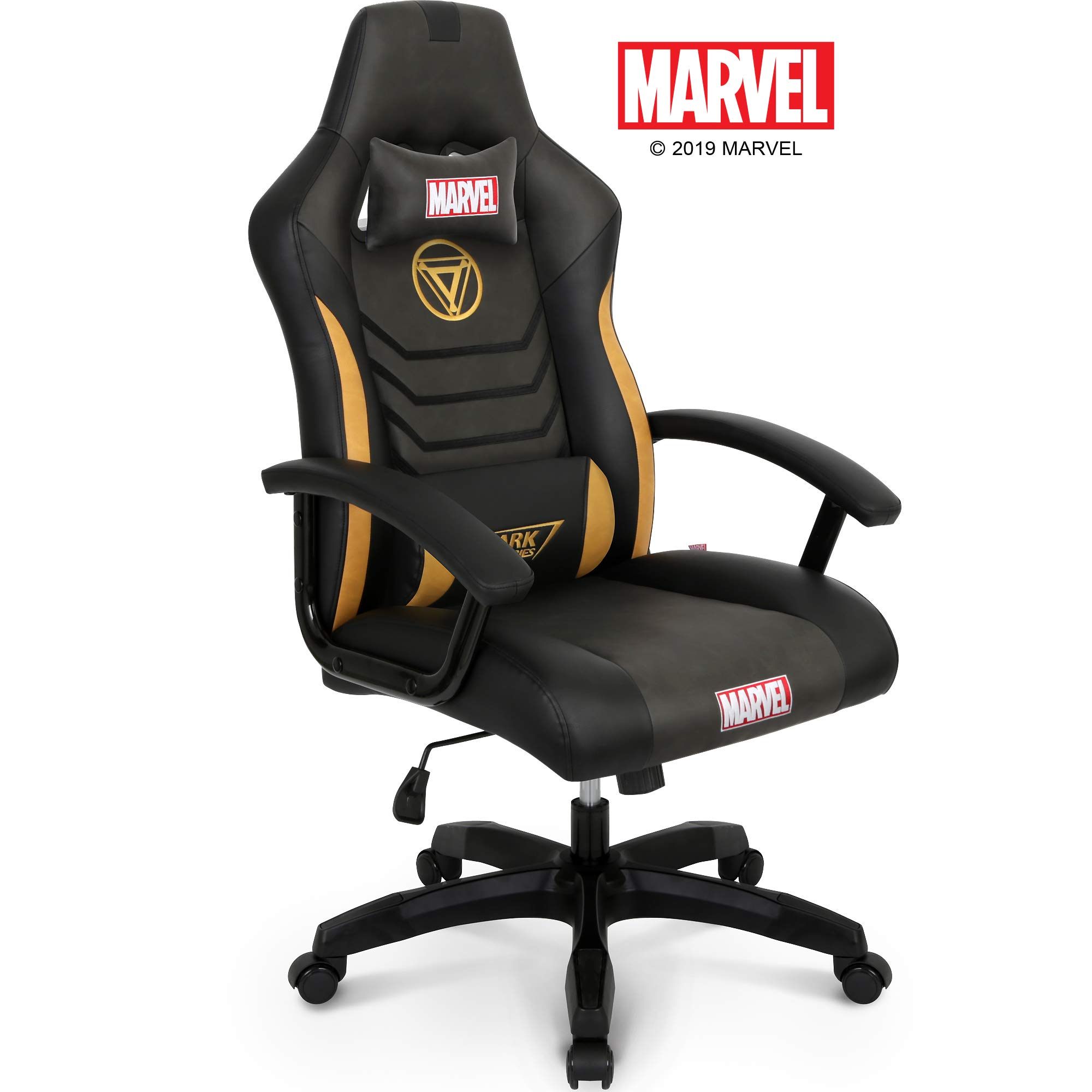 Marvel Avengers Iron Man Big & Wide Heavy Duty 330 lbs Gaming Chair Office Chair Computer Racing Desk Chair Black Gold - Endgame & Infinity War Series, Marvel Legends by Neo Chair