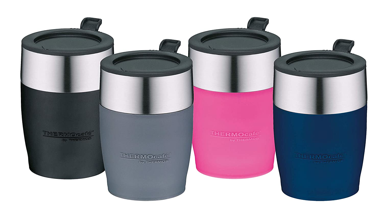 passend unter viele Kaffeevollautomaten ThermoCaf/é by THERMOS 4064.256.025 Kaffeetasse DeskCup BPA-Free Edelstahl Blau 0,25 l