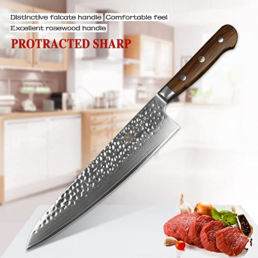 XINZUO Cuchillo de Cocina 24cm de Acero Damasco Japonés 67 Capas Profesional Gyuto Cuchillo de Cocinero con Rosewood Mango - Yun Serie