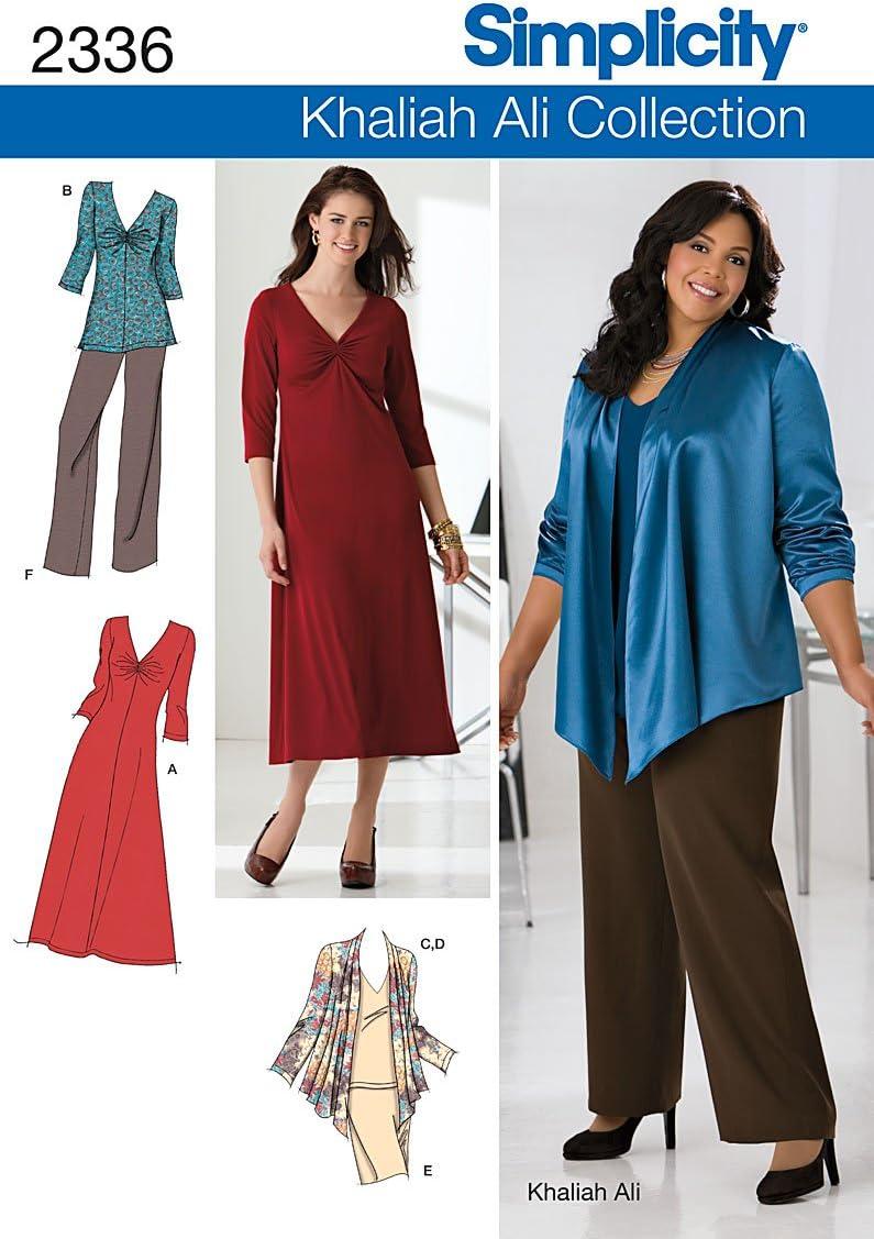 Jacket Knit Dress and Knit Tops Sizes 20W-28W Simplicity Khaliah Ali Collection Pattern 2336 Womens Pants Skirt