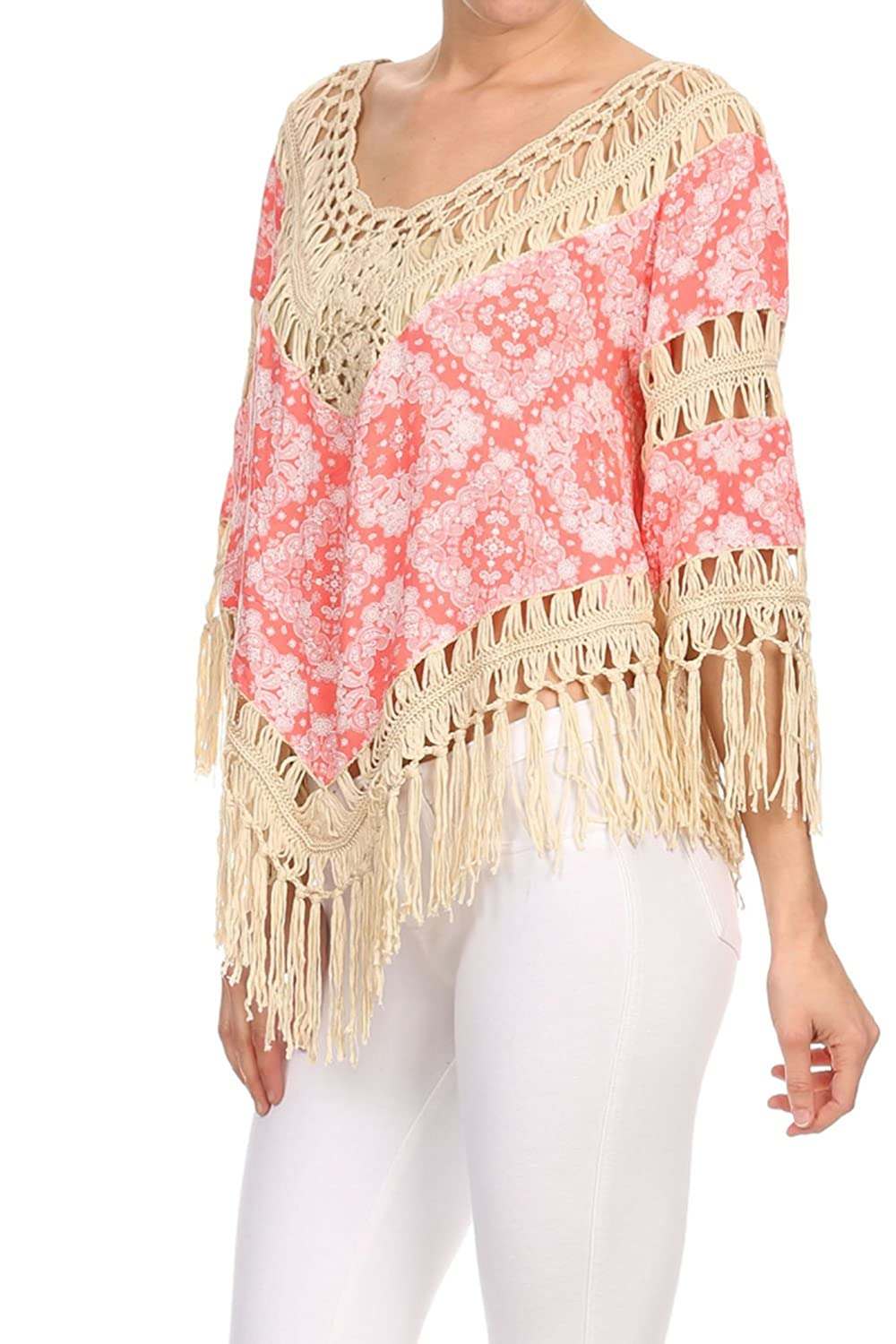 Vialumi Women's Juniors 3/4 Sleeve Fringed Crochet Poncho Shirt Pink