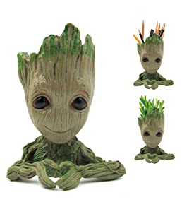 Arbusb Flowerpot Tree-Pen Pot Tree Man with Depth is 3.5in,for Succulent Planter, Cute Green Plants Flower Pot, with Hole Pen Pot, Best Gifts for Kids(Grayish Brown)