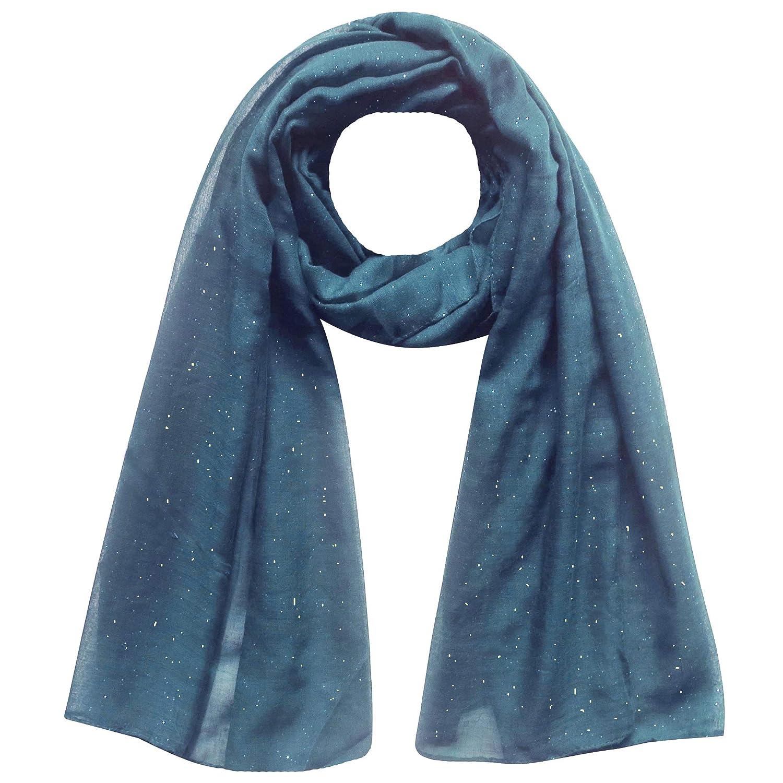 Navy Blue Lina /& Lily Gold Glitter Womens Scarf Hijab Head Wrap Oversized
