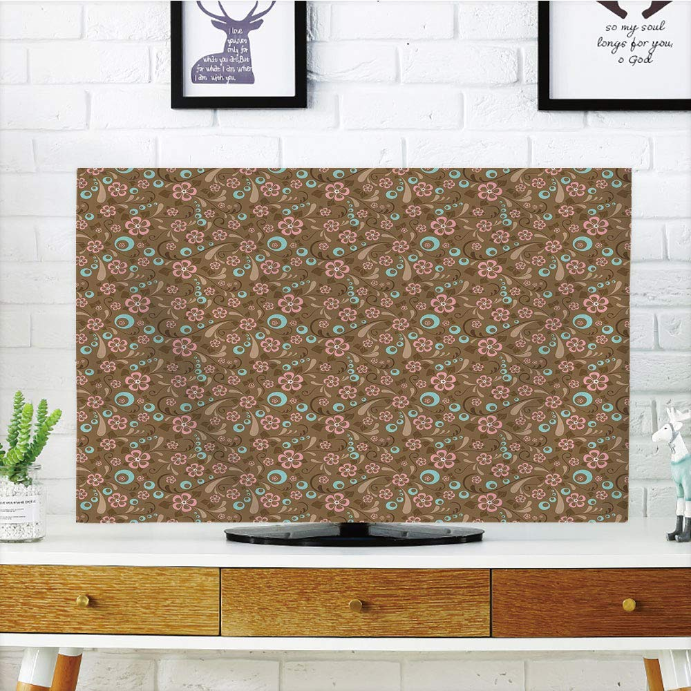 PENGTU プレミアム液晶テレビカバー マルチスタイル ブラウンとブルー 渦巻きサークルの花柄 抽象的な葉のデザイン レトロ キャラメルペールブルーコーラル カスタマイズ可 42インチテレビ   B07MLLJB5D