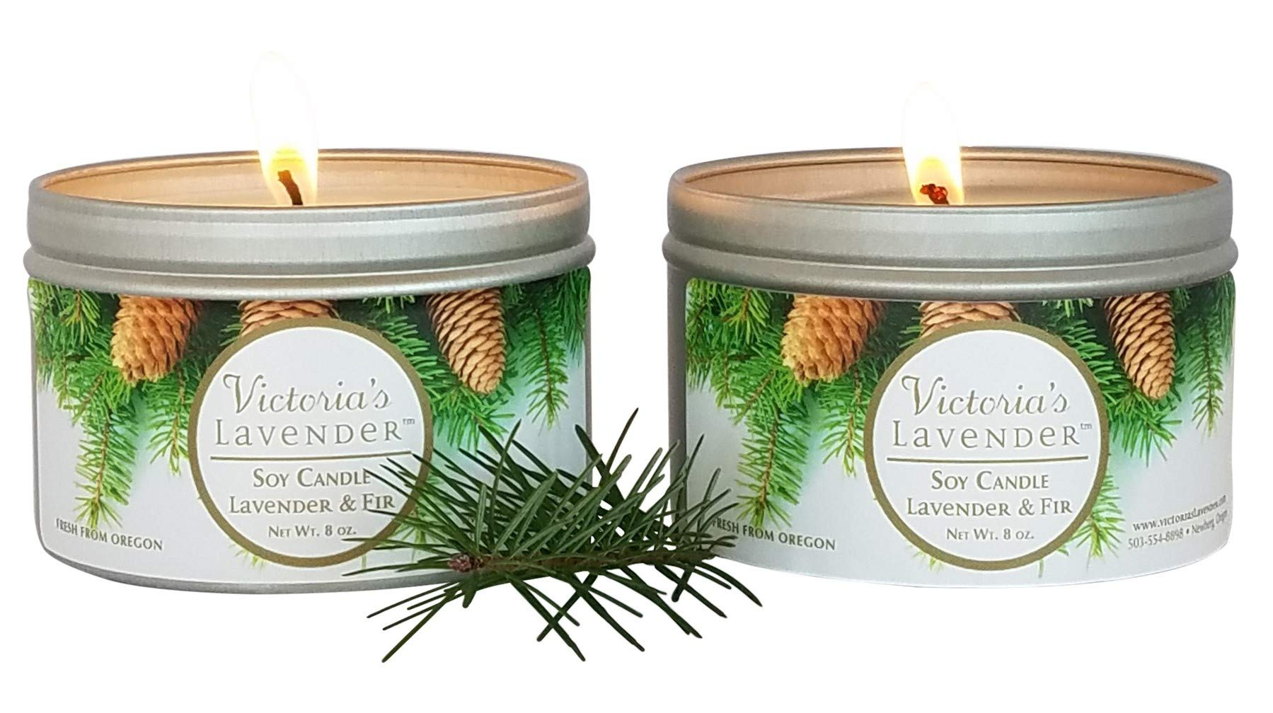 Victoria's Lavender Soy Wax Scented Candles | Essential Oil Aromatherapy Candle (2 Pack) - Lavender & Fir by Victoria's Lavender