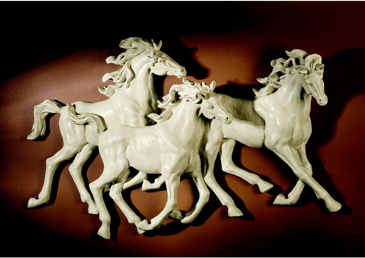 Spanish Wild Stallion Horse Wall 3-D Sculpture Statue Decor