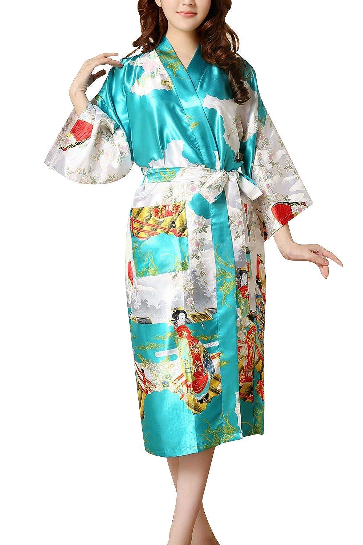 Dolamen Damen Morgenmantel Kimono, Glatte Satin Nachtwä sche Bademantel Robe mit Geisha und Blume Kimono Negligee Seidenrobe locker Schlafanzug, Langer Stil & 2017