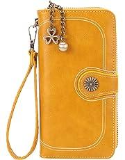 Women's Large Capacity Luxury Soft Wax Leather Clutch Wallet Card Holder Organizer Ladies Fashion Retro Purse