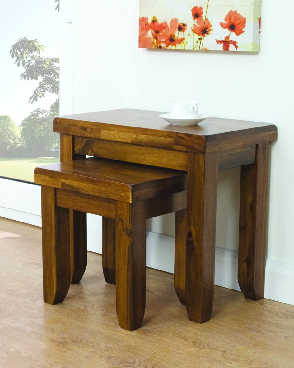 Bali Acacia Solid Wood Nest of 2 Tables - Set of 2 Nesting Tables - Finish : Rich Brown - Living Room Furniture