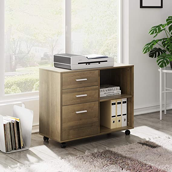 PengAnGuo Office Document Data Storage Cabinets Cabinet Cabinet Small Desktop File Cabinet Drawer Lockable Cash Box for A Variety of Occasions Office Drawers Color : Brown, Size : 39x39x29.5cm