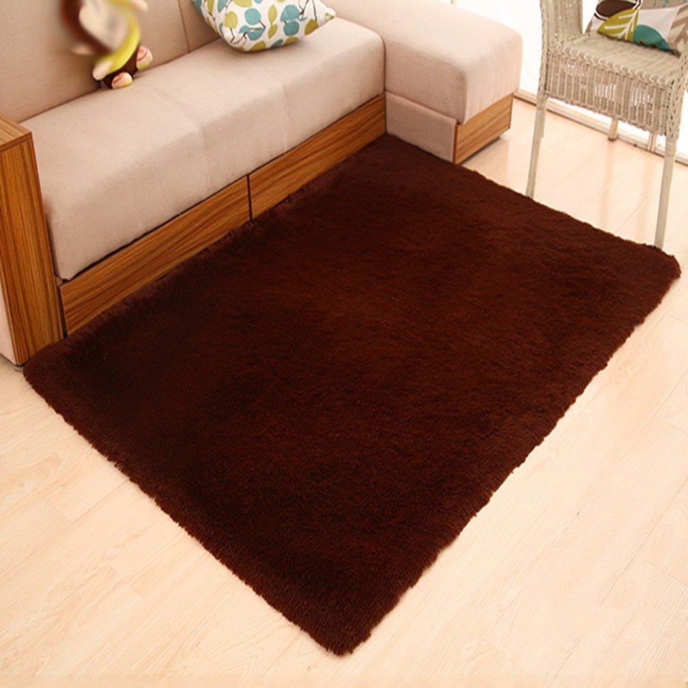 Rug WAN SAN QIAN- Children Bedroom Carpet Living Room Carpet Sofa Europe Princess Rectangle Thicker (Color : Brown, Size : 80x160cm)