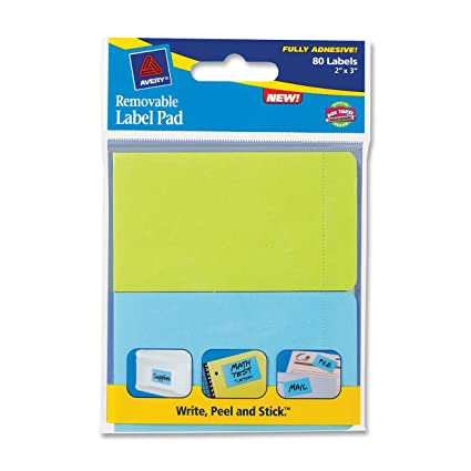 amazon com avery removable label pad 2 x 3 inches assorted neon