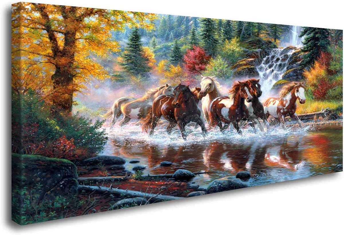 ArtHome520 Golden Landscape Home Decor Canvas Print Painting Colorful Animal Horse Picture Wall Art Contemporary Framed Living Dining Room Decorations (20''x40'')