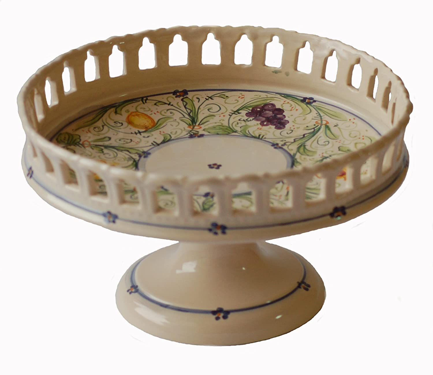 Simonetti Hand Painted Italian Ceramic Centerpiece/Fruit Bowl with Pedestal Made in Italy