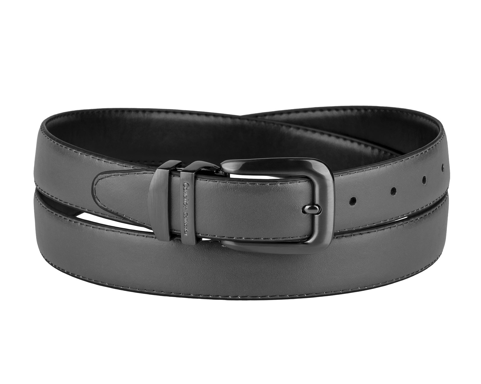 CONCITOR Reversible Belt CHARCOAL GREY Black Bonded Leather Pewter-Tone Bckle 34