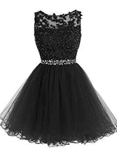 f61a0e845280 Tideclothes ALAGIRLS Short Beaded Prom Dress Tulle Applique Homecoming Gowns