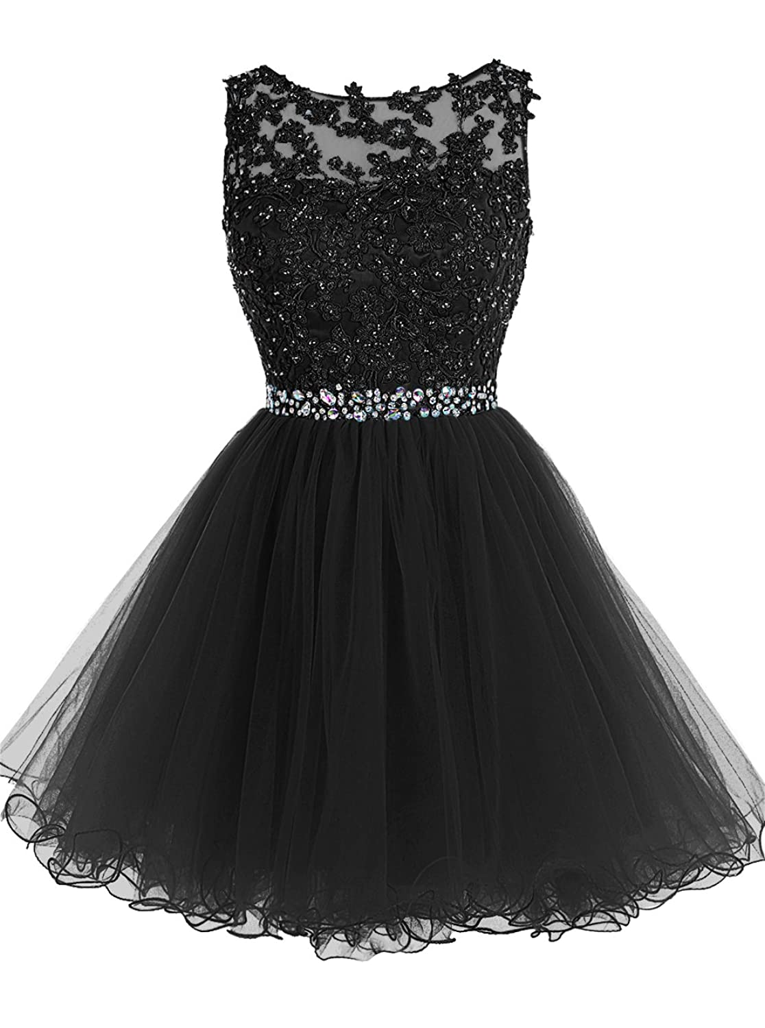 Amazon.com: Tideclothes ALAGIRLS Short Beaded Prom Dress Tulle ...