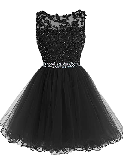 ALAGIRLS Short Beaded Homecoming Dress Tulle Lace Applique Coctial Prom Gowns Black 6