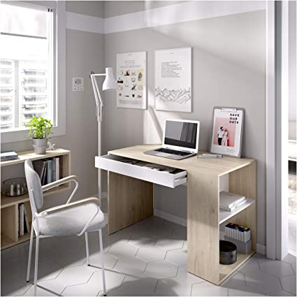 Mueble de despacho Medidas: Alto 74 cm x Ancho 115 cm Blanco Cajon Y Hueco HABITMOBEL Mesa Escritorio