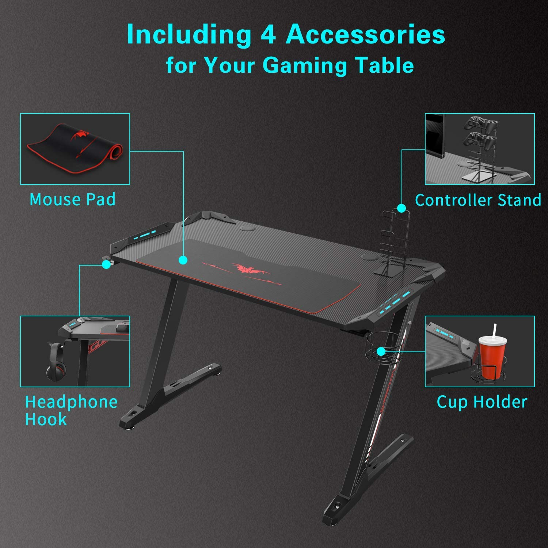 Eureka Ergonomic Z1-S Gaming Desk - Mesa de juegos para computadora, mesa de juegos, mesa de juegos para PC con luces LED, fibra de carbono, portavasos y ...