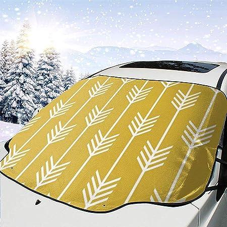 Jeffrey Toynbee Moderne Pfeil Befiederung Muster Senfgelb Auto Windschutzscheibe Sonnenschutz Schnee Eis Abdeckung Windschutzscheibe Schutzfolie Auto
