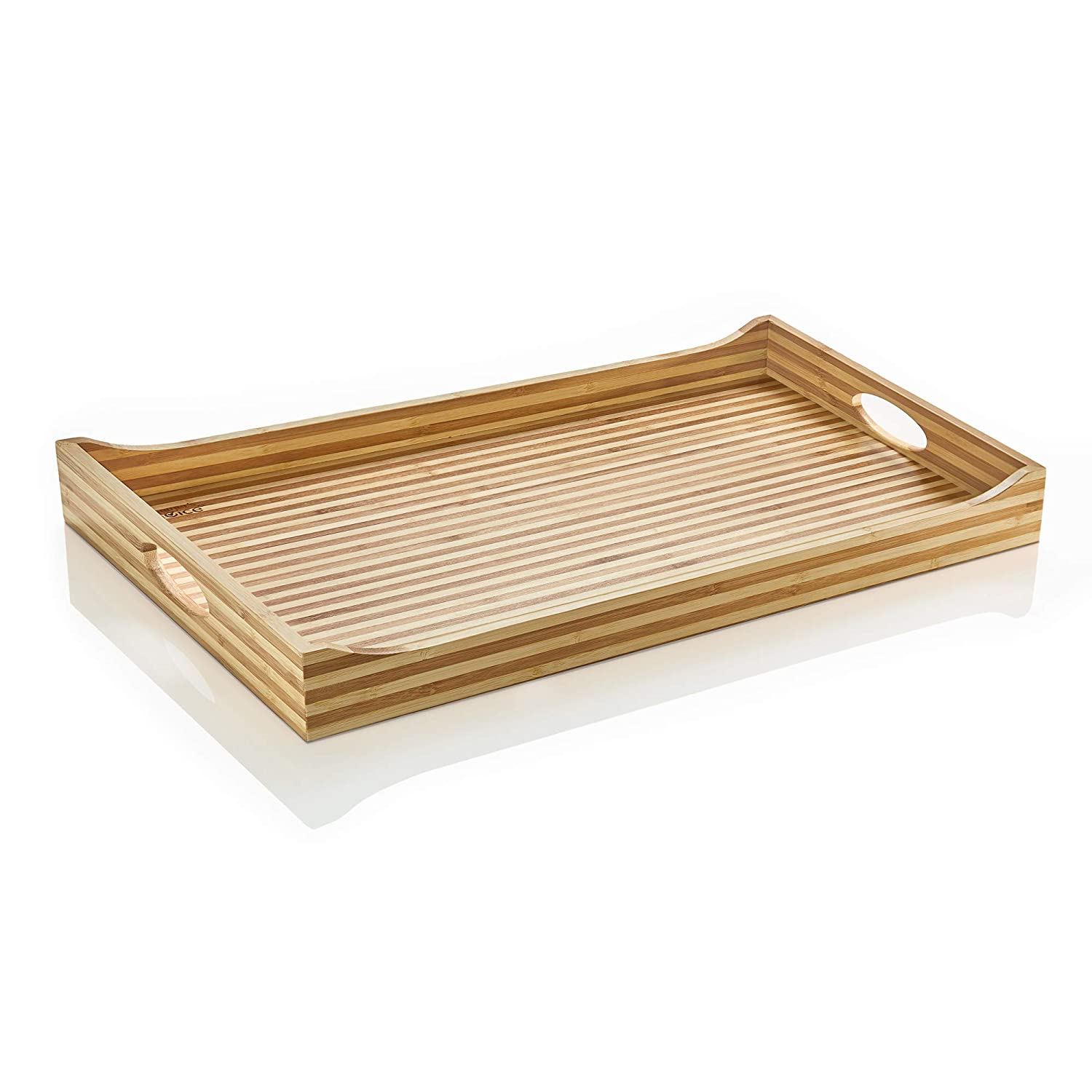 Prosumer's Choice Luxury Two Tone Bamboo Serving Tray With Built-In Handles Aleratec