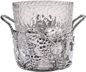 Arthur Court Designs Aluminum Metal and Glass Grape Champagne Ice Bucket - Diameter 10.5