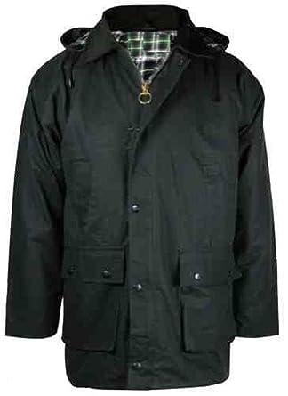Mountain Pass® By Wholesale Workwear Hombre Chaqueta De gewachster algodón Acolchado con Capucha Outdoor Pesca Caza Agricultura Jinete Cuadros patrón