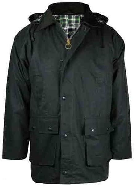 Mountain Pass® By Wholesale Workwear Herren Jacke aus gewachster Baumwolle wattiert mit Kapuze Outdoor Angeln jagen Landwirtschaft reiten Kariertes