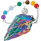 SUNYIK 7 Chakra Crystal Quartz Point Pendulum Healing Dowsing Reiki Dowsing Divination Tool