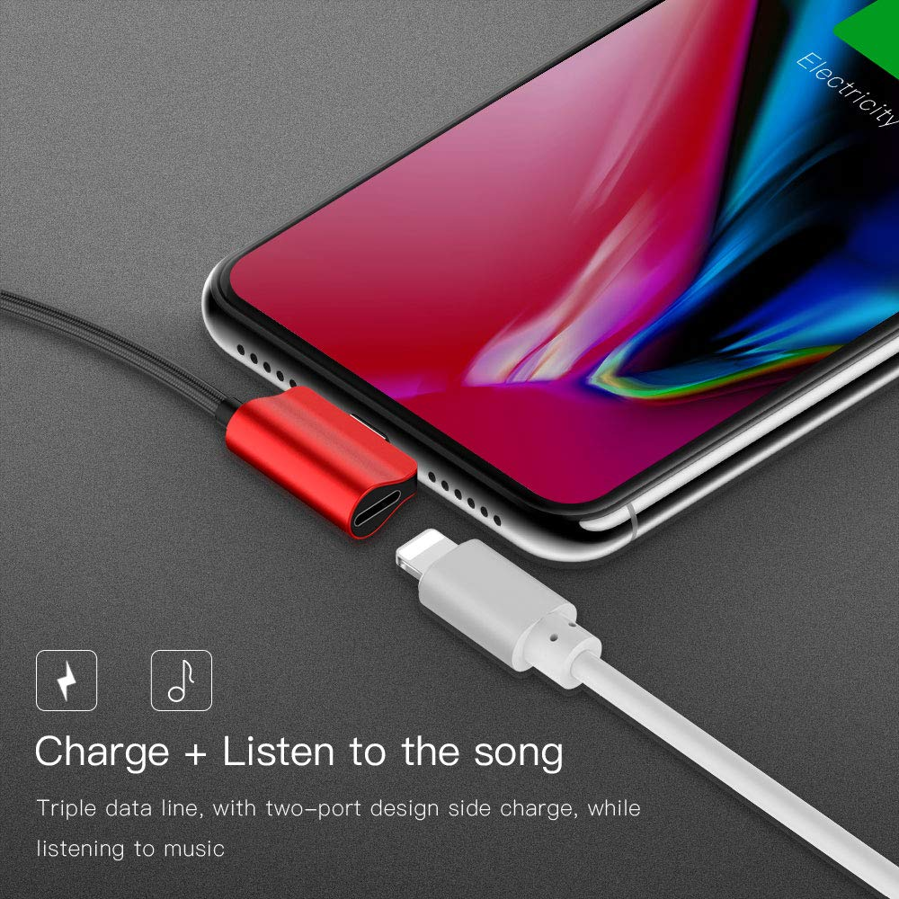 Color : Red YOZOOE L-Shaped Data Cable Audio Nylon Braided Fast Charge Bend Adapter for iPhone 7//8//X 1.2M