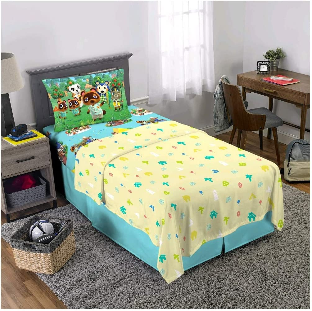 Franco Manufacturing Animal Crossing Happy Campers 3 Piece Twin Size Microfiber Sheet Set