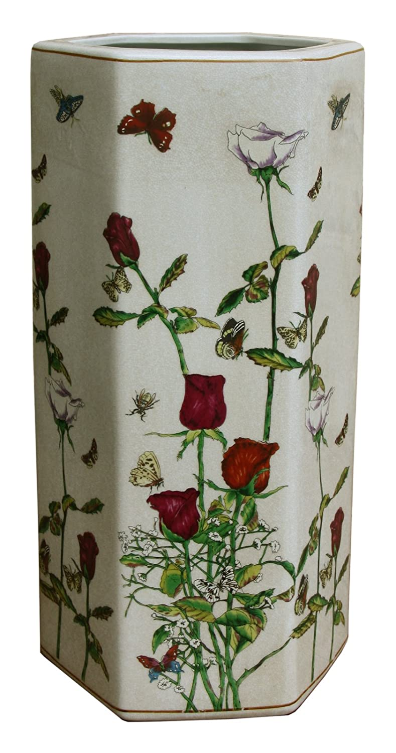 Hexagonal Ceramic Umbrella Stand Or Stick Stand With Roses And Butterflies marymarygardens