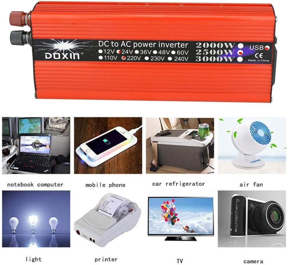 Modified Sine Wave Inverter DC 12V // 24V to AC 110V // 220V Solar Voltage Converter Suitable for Outdoor Use USB Port Size : 12V-110V with AC Socket Peak 3000W XIAORAN Power Inverter