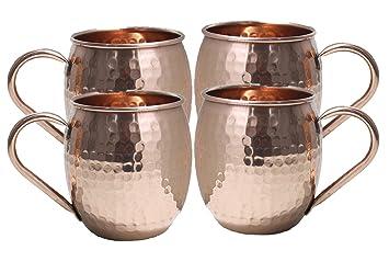 Moscow Mule tazas de cobre 16 Oz Cobre Moscow Mule tazas de cobre martillado taza de cobre tazas para Moscú mulas: Amazon.es: Hogar