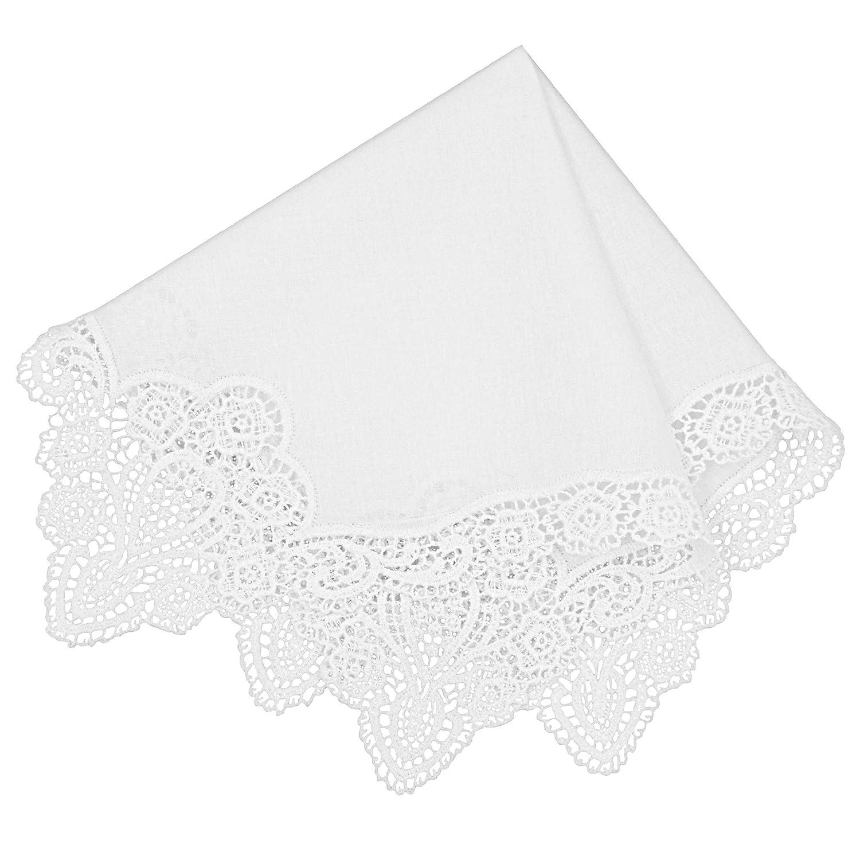 Milesky Bridal Wedding Crochet Lace Handkerchief Premium 60S Cotton (CH06)