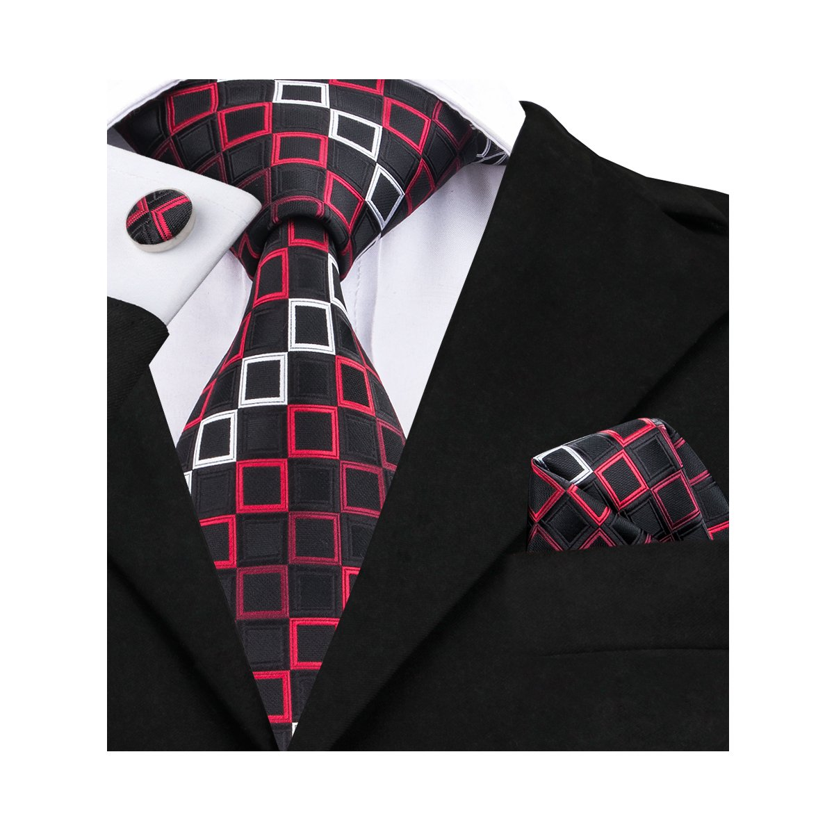 Barry.Wang Black Ties Woven Necktie Handkerchief Cufflinks Set Formal Black 1 One Size FBABARRY-258